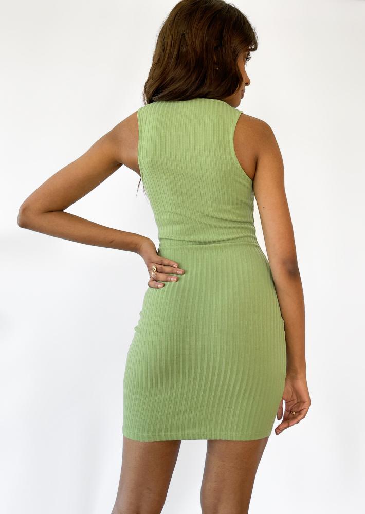 Robe côtelée - vert