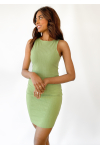 Racer rib dress in green