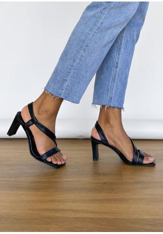 Sandales matelassées à talon noir