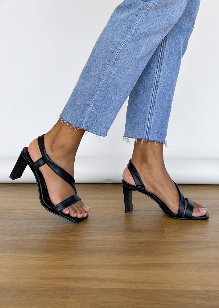 Quilted heeled sandals in black