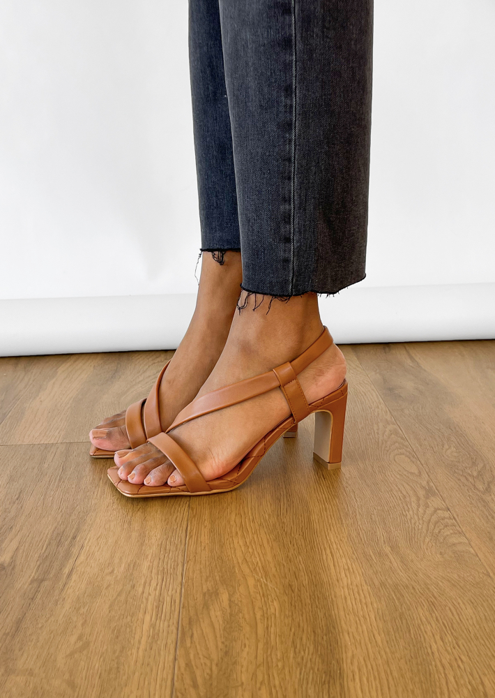 Quilted heeled sandals in camel