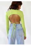 Open back long sleeve top with scarf hem in green