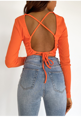 Open back top with tie detail in orange