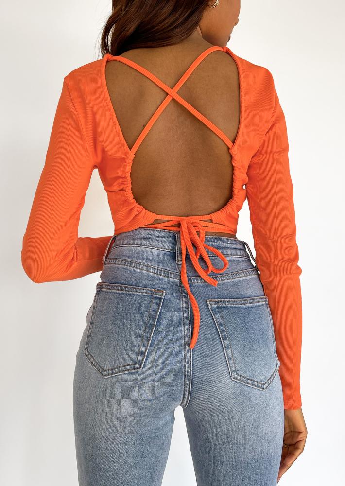 Open back top with tie detail in orange