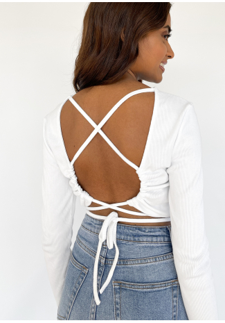 Open back top with tie detail in white