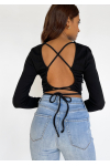 Open back top with tie detail in black