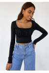 Ruched long sleeve top in black