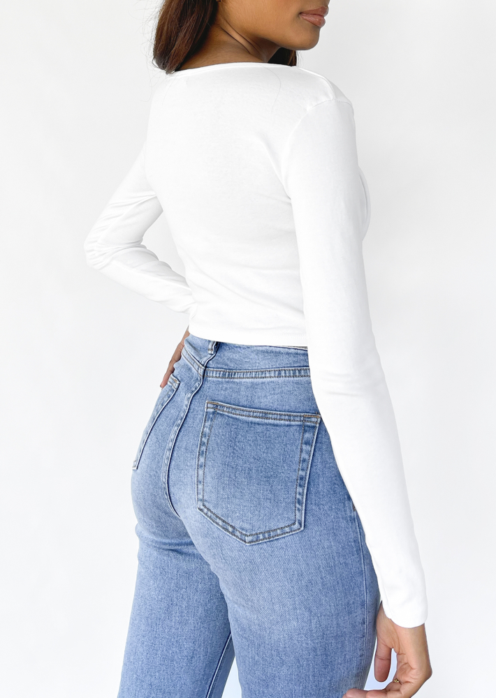 Ruched long sleeve top in white