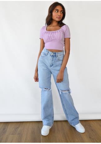 T-shirt froncé lilas
