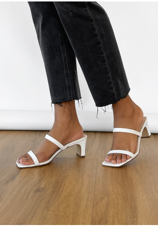 Strappy heeled mules in white