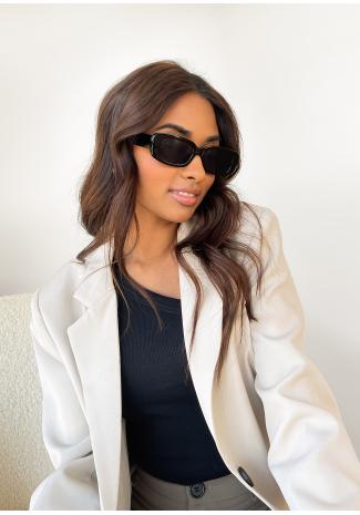 Skinny rectangular sunglasses in black
