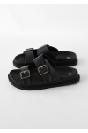 Sandalias negras planas con doble tira
