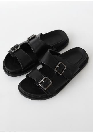 Flat double strap buckle sandals