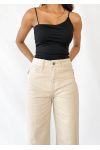Flared Crop Jeans in beige