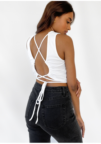Open back top with cross tie detail in white