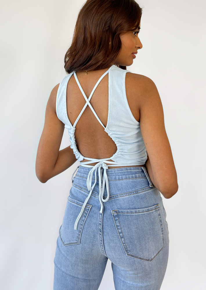Open back top with cross tie detail in blue