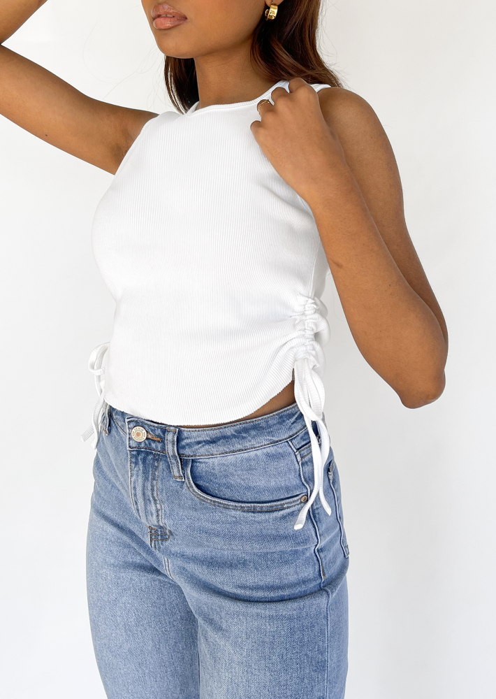 Ruched side vest top in white