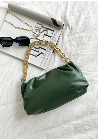 Ruched shoulder bag with chunky gold chain in green