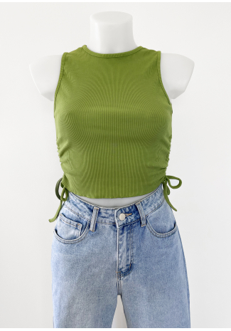 Ruched side vest top in green