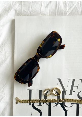 Gafas de sol de montura estrecha rectangular - marrón carey