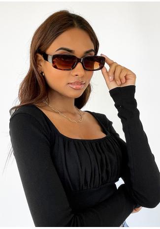Gafas de sol de montura estrecha rectangular - marrón claro carey