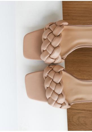 Plaited heeled mule in beige