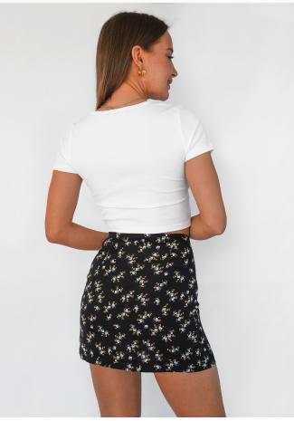 Jupe courte fleurie avec fente et boutons noir