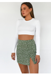 Green floral mini skirt with front split and buttons details