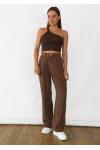 Pantalon large en lin marron