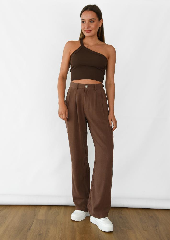 Pantalones de pernera ancha de lino en marron