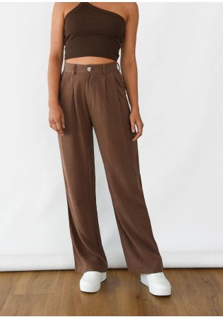Linen wide leg trouser in brown