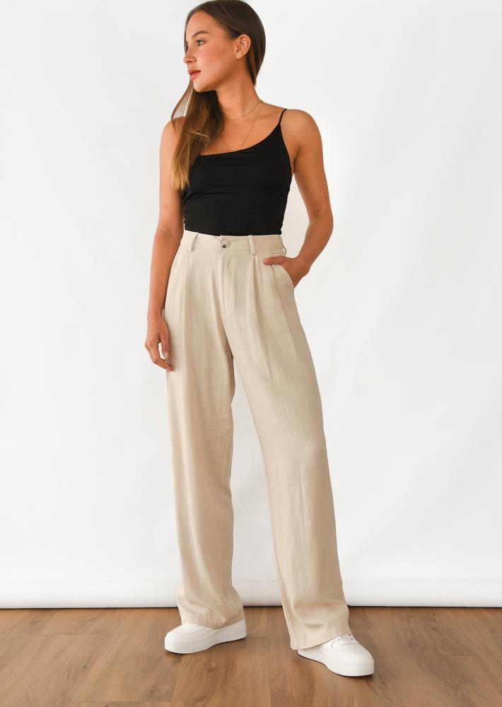 Linen wide leg trouser in beige