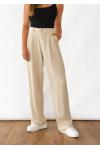 Pantalones de pernera ancha de lino en beis