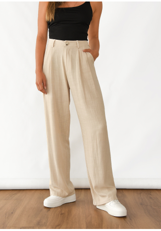 Pantalon large en lin beige
