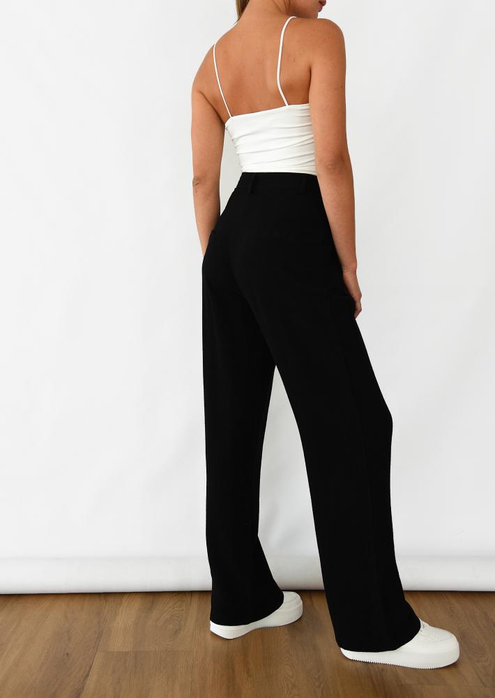 Linen wide leg trouser in black