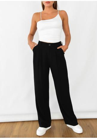 Pantalones de pernera ancha de lino en negro