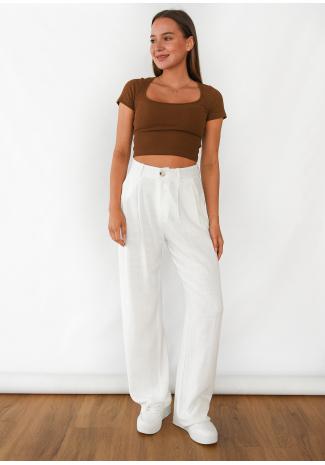 Pantalones de pernera ancha de lino en blanco