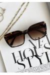 Square frame oversized sunglasses in tortoiseshell