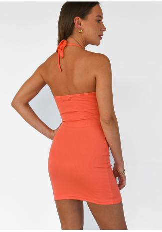 Robe courte dos nu côtelée orange