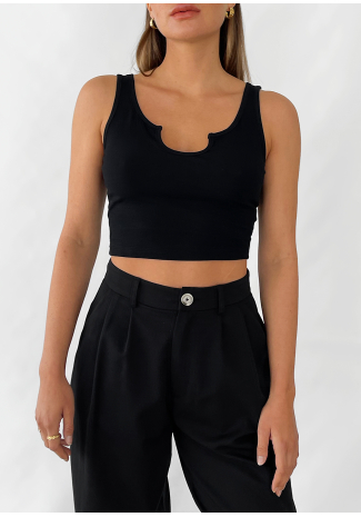 Ribbed vest with notch neck in black