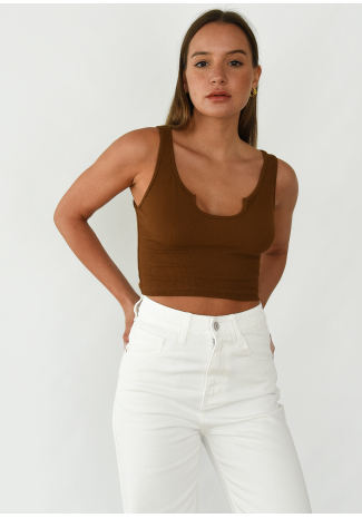 Ribbed vest with notch neck in brown