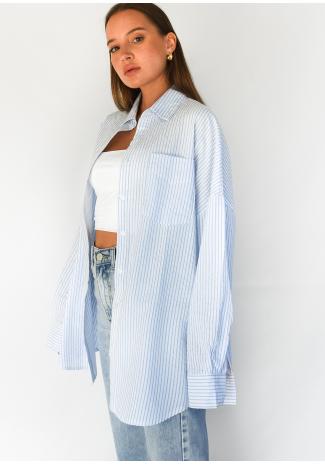 Chemise oversize bleu à rayures