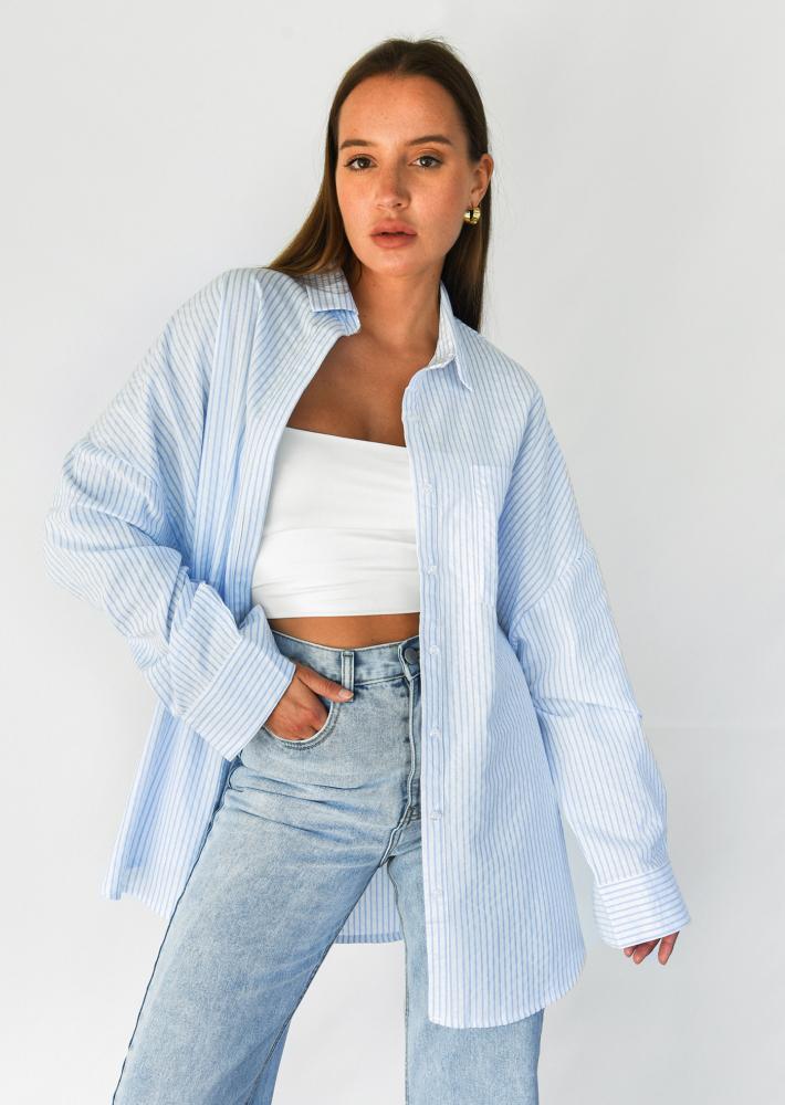 Oversized shirt in blue stripe