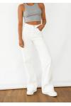 Jeans de campana y pernera ancha en blanco