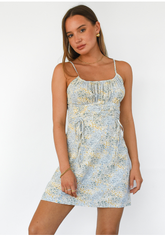Ruched front floral dress