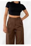 Wide leg pants in brown