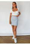 Ribbed tie front crop top in white