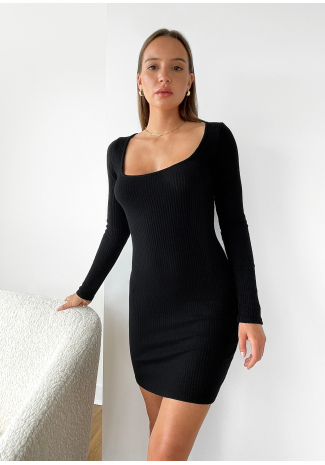 Square neck knitted dress in black
