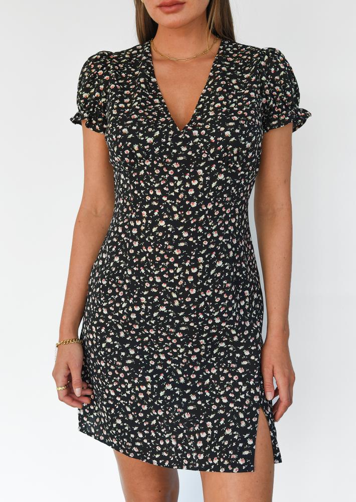 Black floral dress with slit side