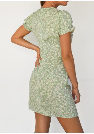 Robe imprimée fleurie vert avec fente